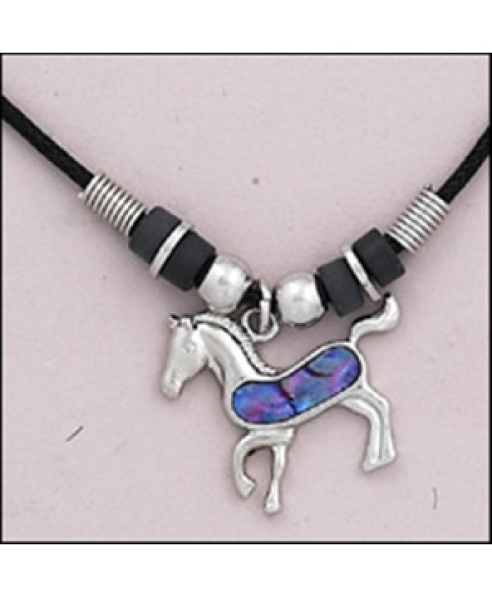 Horse Bead & Paua Shell Necklace Purple
