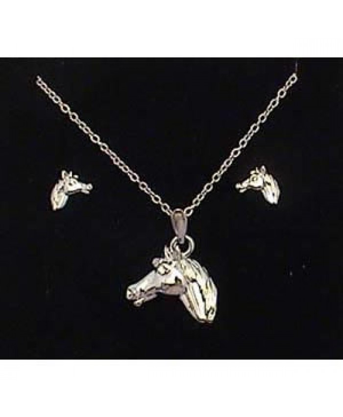 Silver Plated Horse Head Necklace & Earrings Set