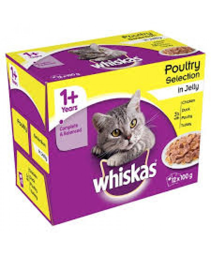 Whiskas 1+ Cat Food Pouches Poultry in Jelly