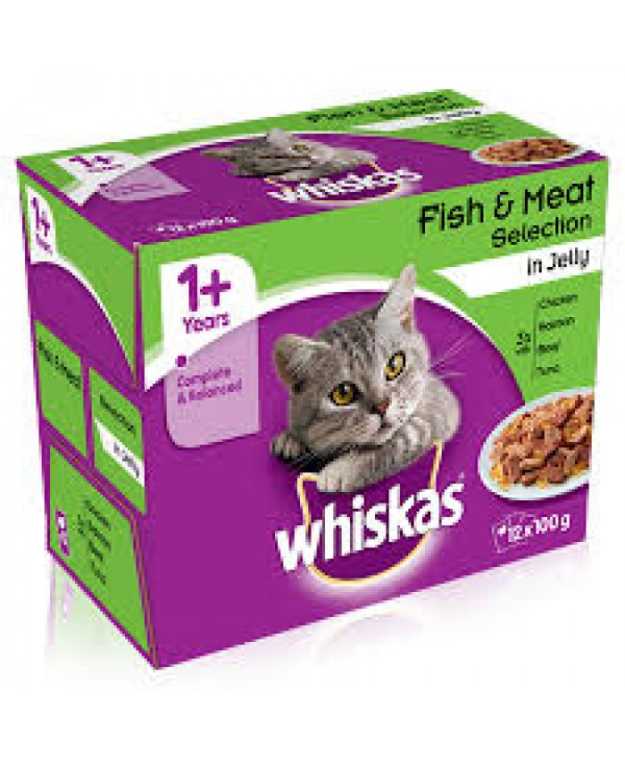 Whiskas 1+ Cat Pouches Fish & Meat Selection in Jelly